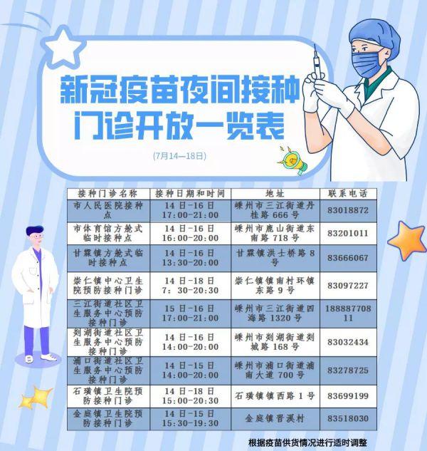 重要通知!我市部分新冠疫苗接种门诊提供夜间接种啦(14~18日)!